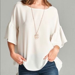 Tops - Bell sleeve ivory blouse worn once EUC